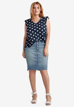Raw High-Low Hem Denim Skirt, LIGHT STONEWASH