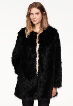 Faux Fur Snap Front Coat by ellos®, BLACK