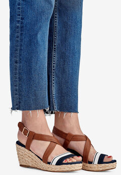 Contrast Strap Wedge Sandal by ellos®, NAVY/WHITE STRIPE