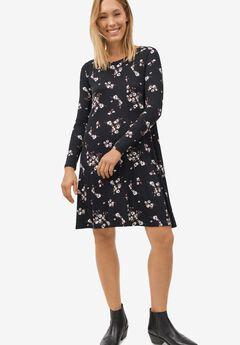 Chelsea Knit Dress, BLACK WHITE FLORAL