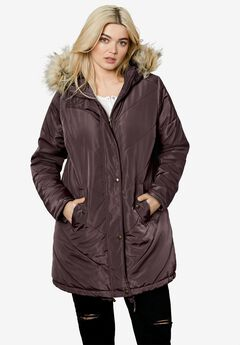 Faux Fur Hooded Parka by ellos®, DEEP BIRCH