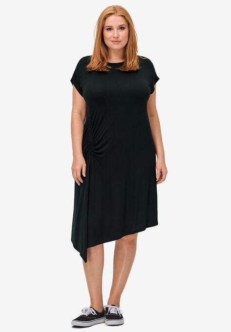 Ruched Side Knit Dress by ellos®| Plus Size Casual Dresses ...