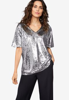 Bell Sleeve Sequin Tee by ellos®,