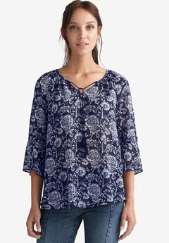 Sheer Bell Sleeve Tunic by ellos®,