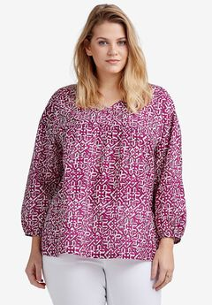 Relaxed Shirred Peasant Blouse by ellos®,