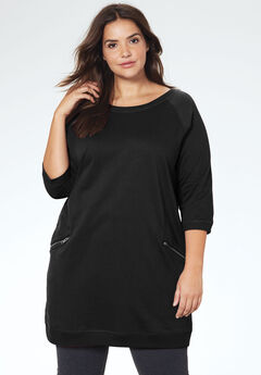 French Terry Zip Pocket Tunic by ellos®, BLACK