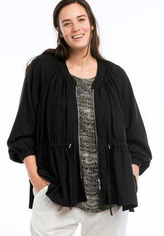Zip Front Linen Blend Jacket by ellos®,
