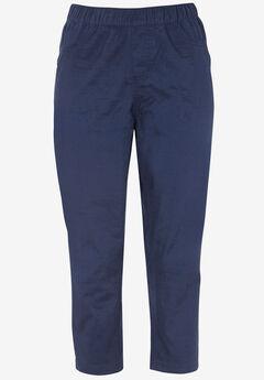 Stretch Twill Capri Leggings, NAVY
