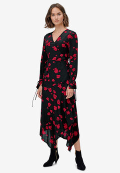 Hanky-Hem Wrap Dress by ellos®, BLACK CLASSIC RED FLORAL