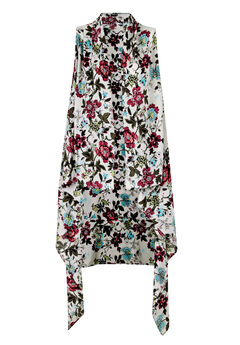 Printed Open Front Duster Vest, IVORY FLORAL