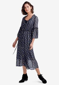 Ruffle-Sleeve Sheer Midi Dress, NAVY
