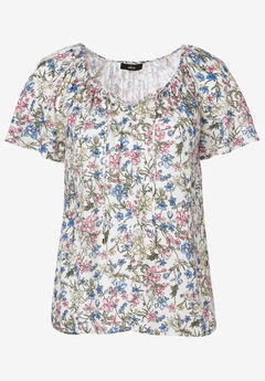 Flutter Sleeve Blouse by ellos®, WHITE MULTI FLORAL
