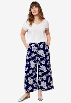 Wide-Leg Crop Pants,