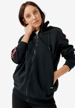 Side-Stripe Zip-Front Hoodie by ellos®,