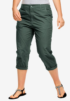 Seamed Capris, GREEN SHADOW