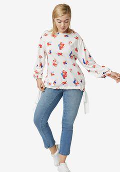Chiffon Tie Floral Sweatshirt,