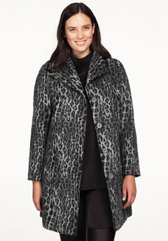 Brushed Wool-Blend Coat, GREY BLACK ANIMAL PRINT