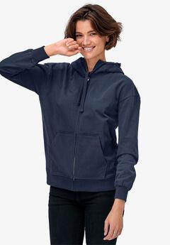 Zip-Front Fleece Hoodie by ellos®, RICH NAVY