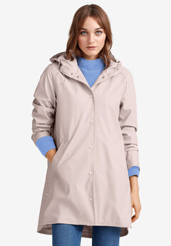 Snap-Front Raincoat by ellos®, LILAC GREY