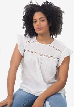 Side Ruffle Gauze Blouse by ellos®,