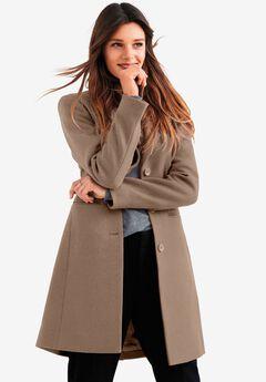Malin Wool-Blend Coat by ellos®, DARK TAUPE
