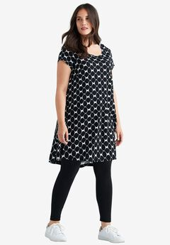 Printed Cap Sleeve Tunic by ellos®,