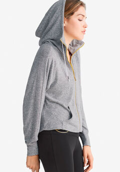 Zip-Front Marled Sweatshirt by ellos®, GREY MARLED