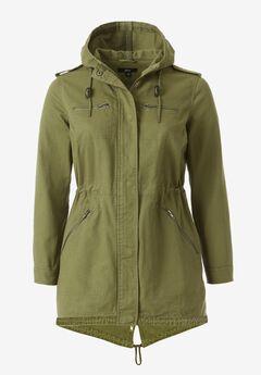 Hooded Anorak Denim Jacket by ellos®, OLIVE GREEN TWILL