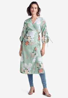 Wrap Kimono Jacket by ellos®, GREEN FLORAL PRINT