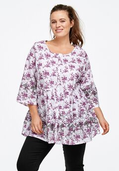 Tiered Floral 3/4 Sleeve Tunic by ellos®,