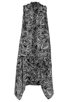Printed Open Front Duster Vest by ellos®, BLACK WHITE PRINT