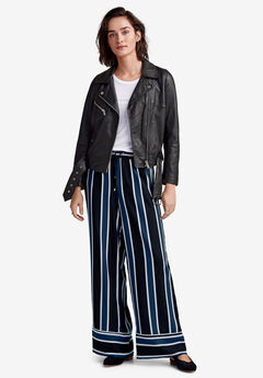 Wide Drawstring Pants by ellos®, BLACK BLUE STRIPE