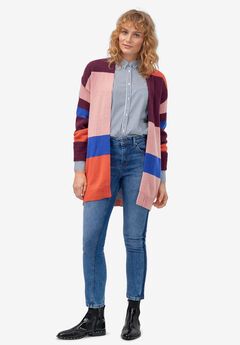 Multi-Stripe Open-Front Cardigan by ellos®, DEEP PLUM MULTI STRIPE