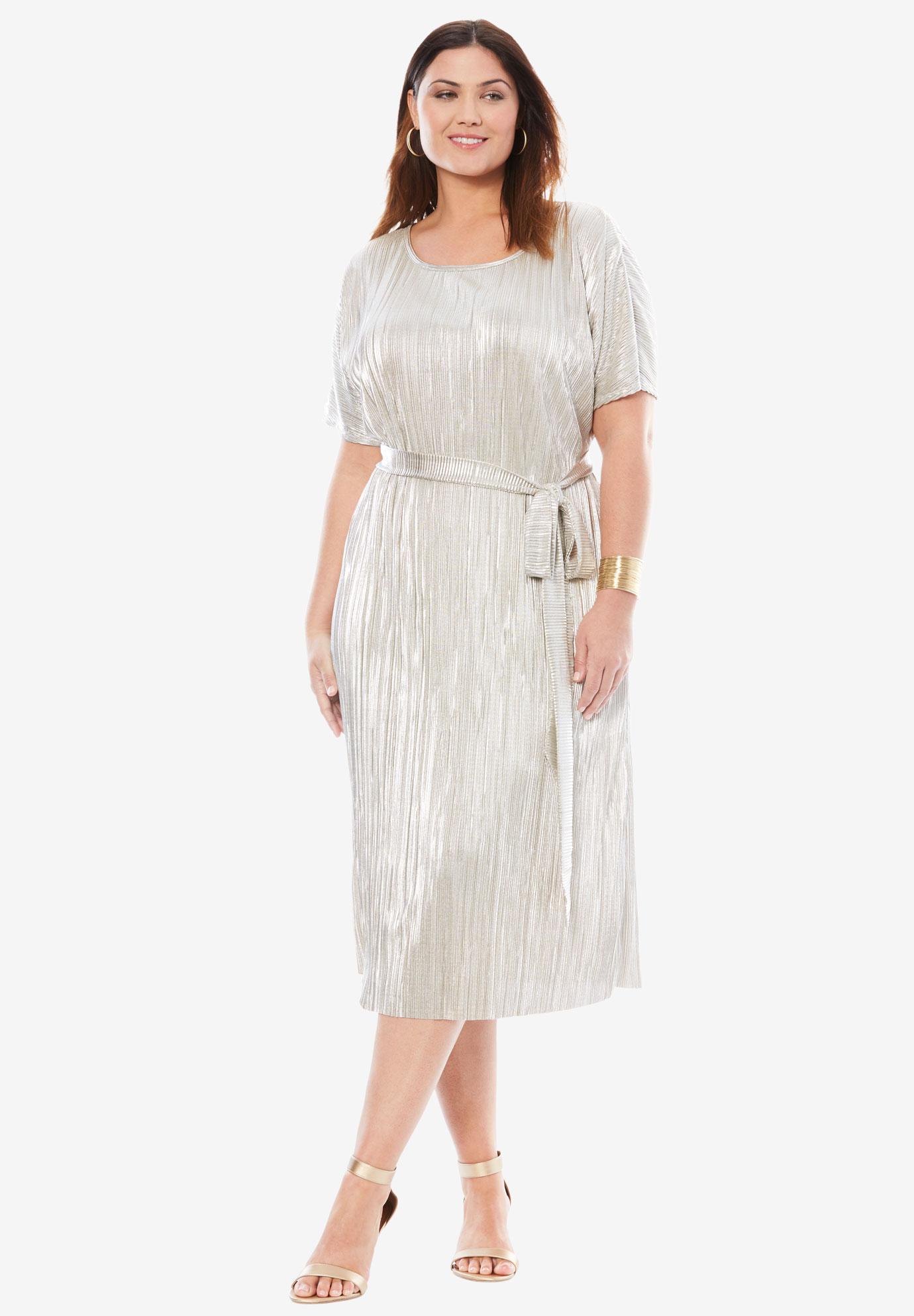 Side-Tie Metallic Dress