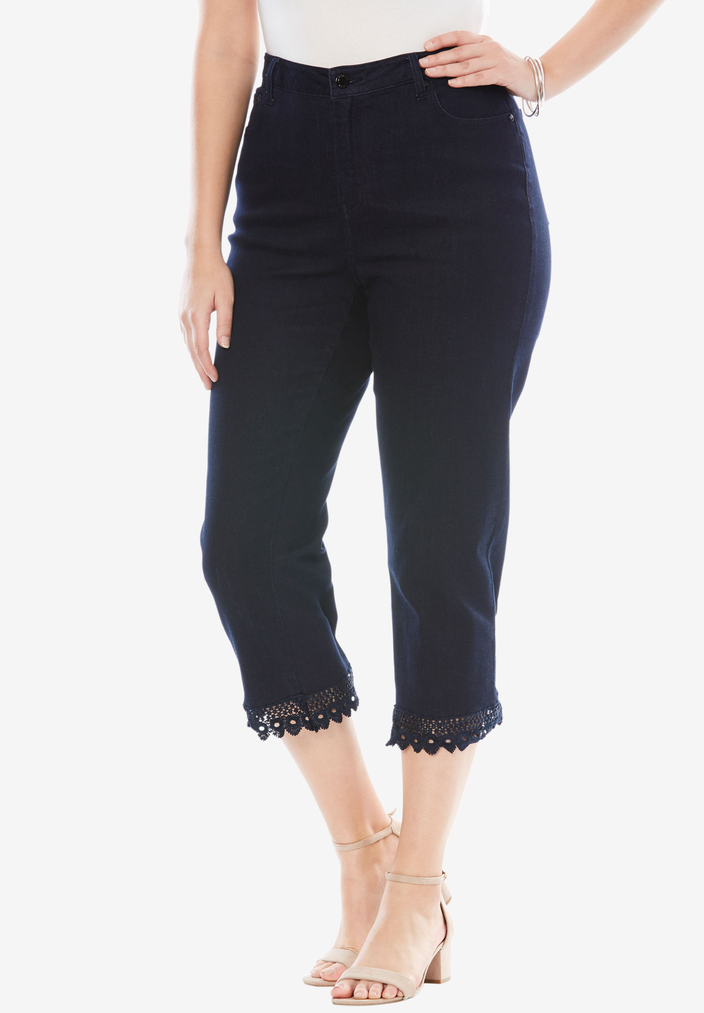 Lace Trim Crop Jeans,