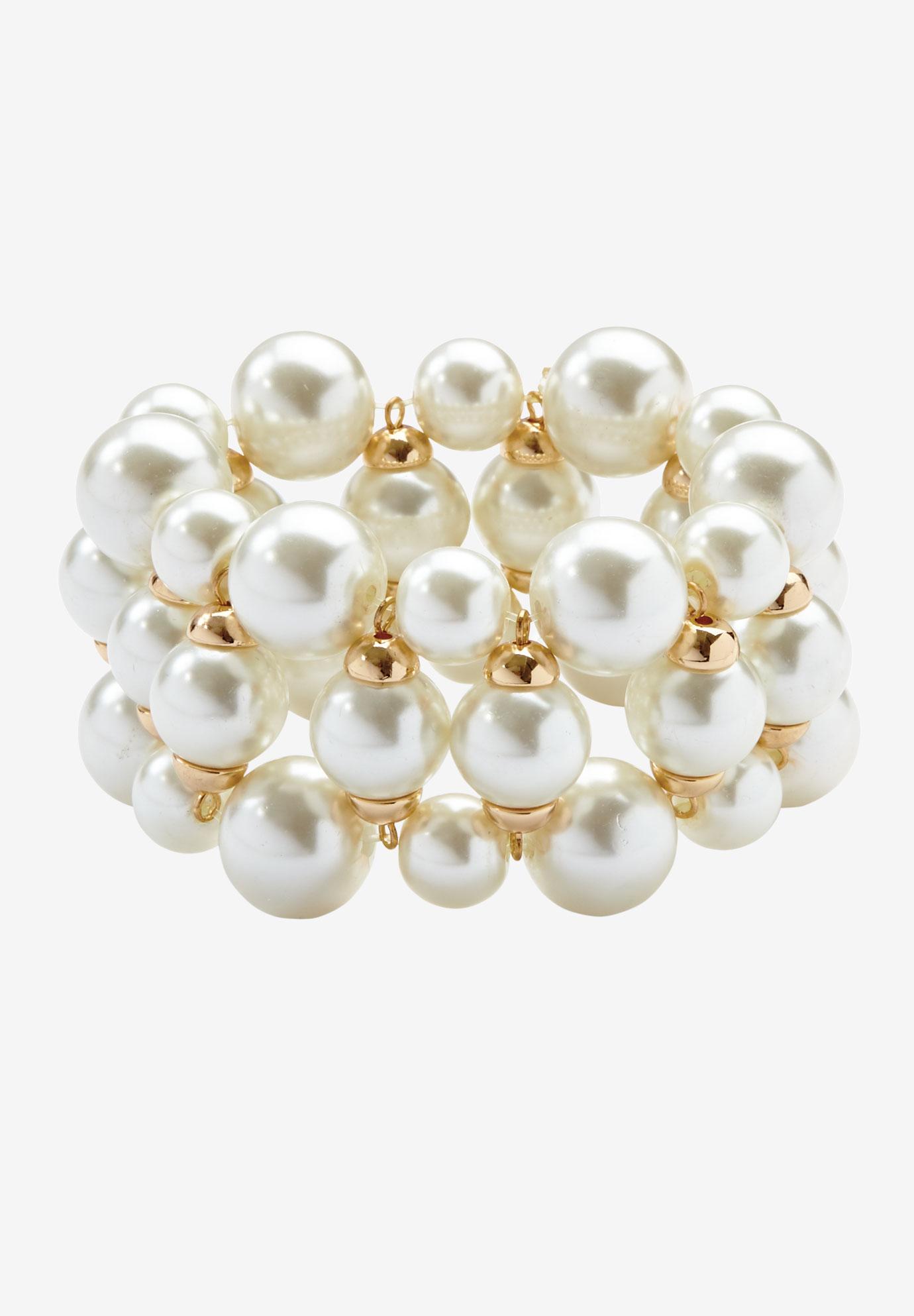 Chunky Pearl Bracelet Gold Cream