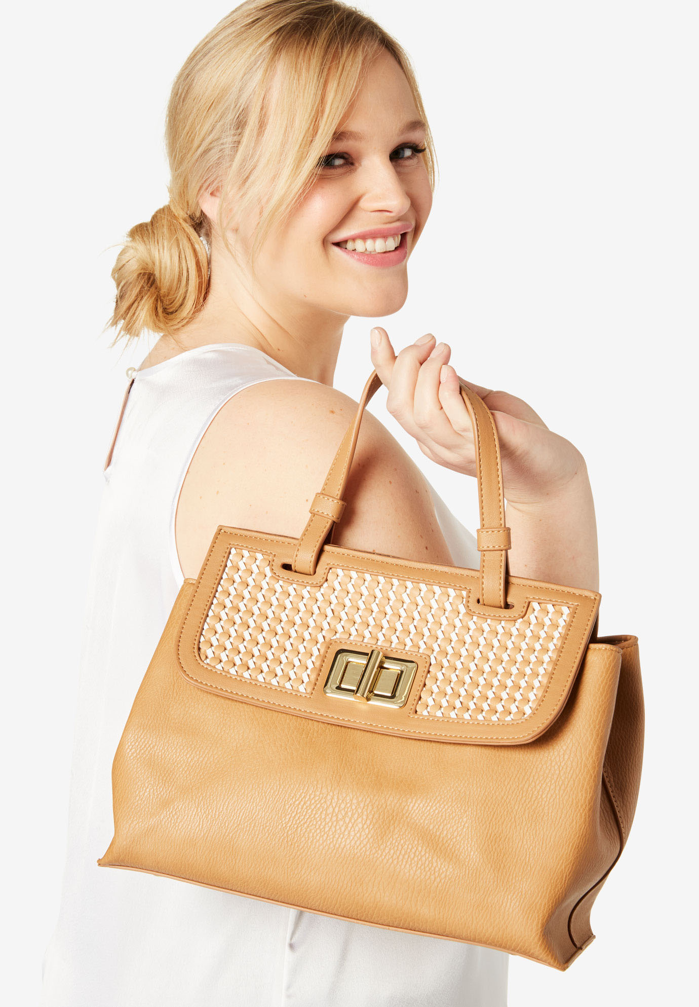 Woven Flap Satchel, NATURAL WHITE