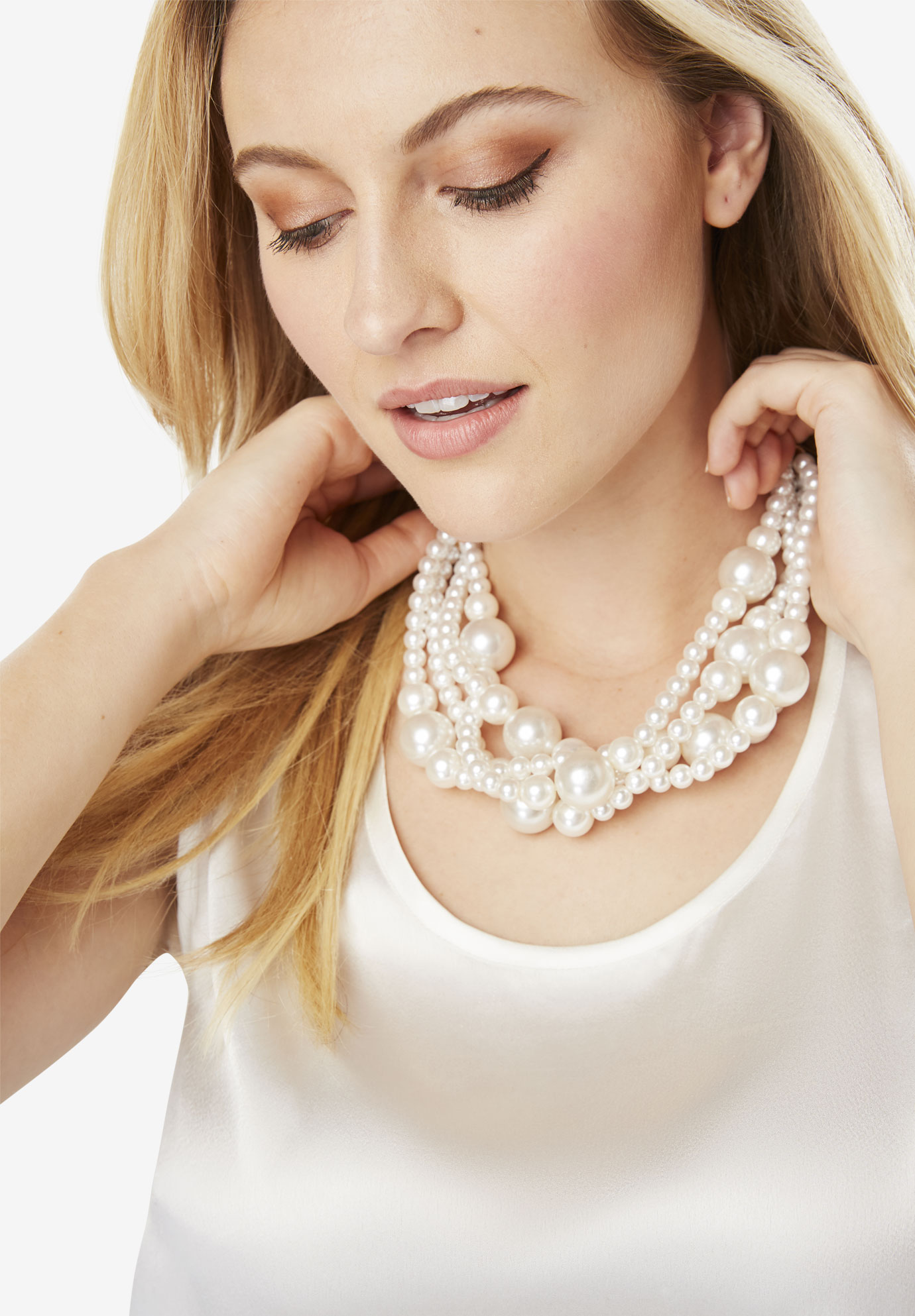 Faux Pearl Necklace and Earring Set, PEARL