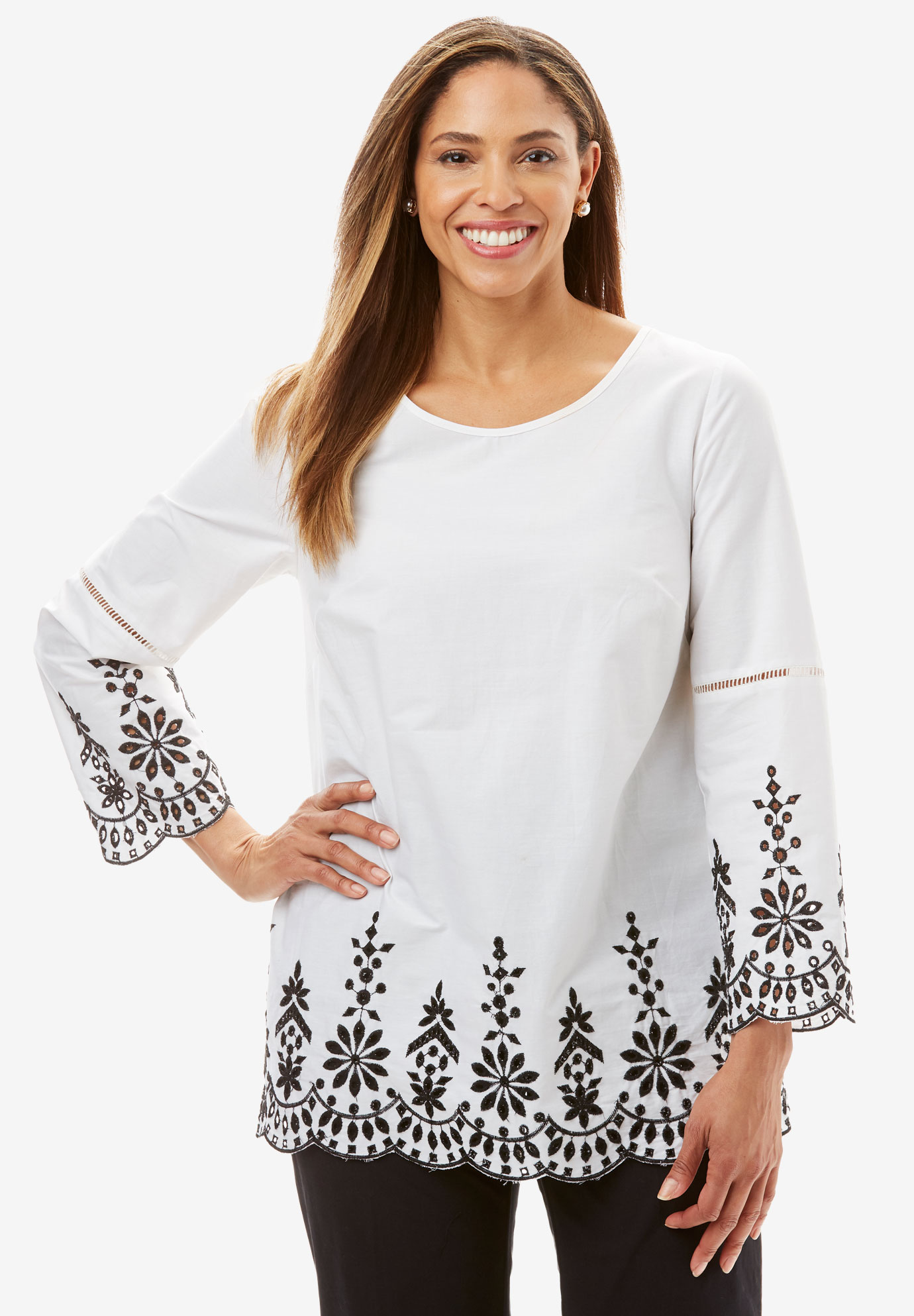 Embroidered Poplin Tunic,