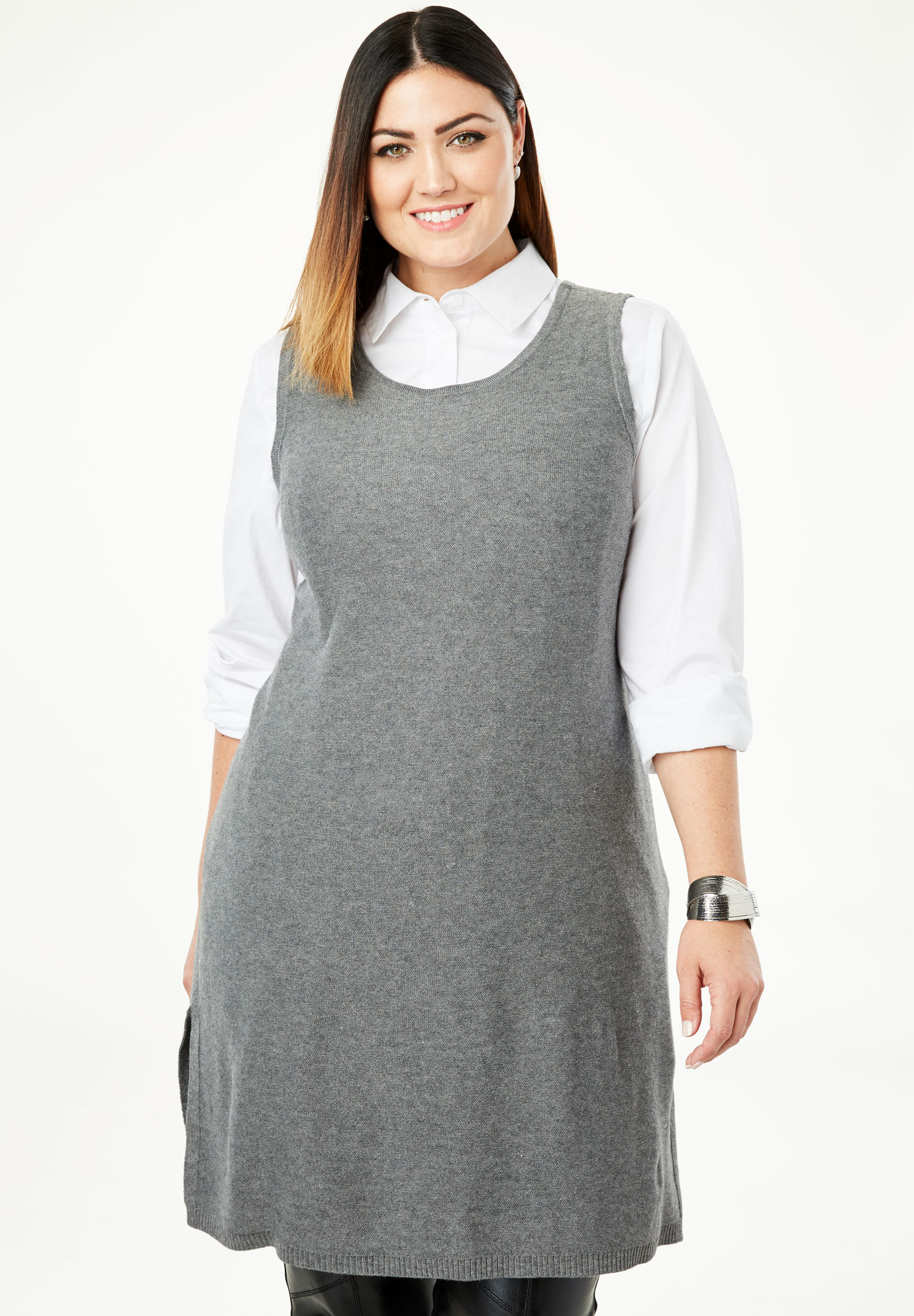 Fine Gauge Tunic Tank Sweater,
