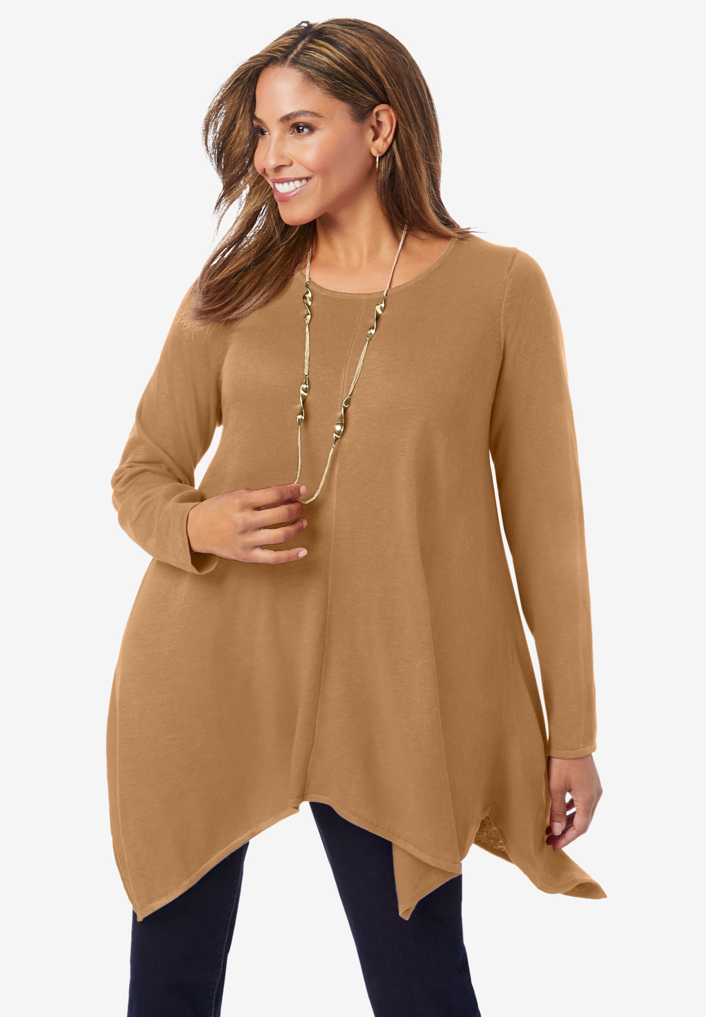 Asymmetrical Hem Swing Sweater,