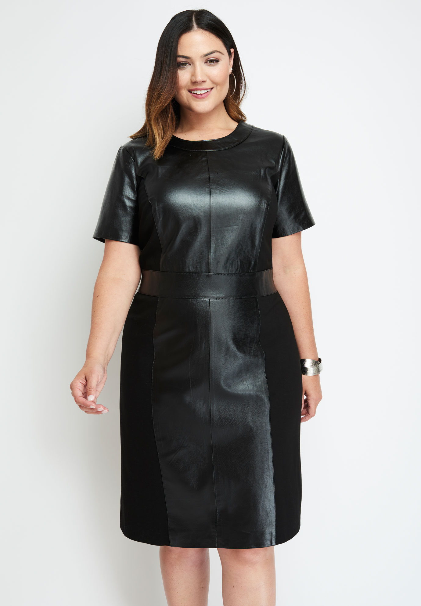 Leather Ponte Sheath Dress| Plus Size Casual Dresses | Jessica London