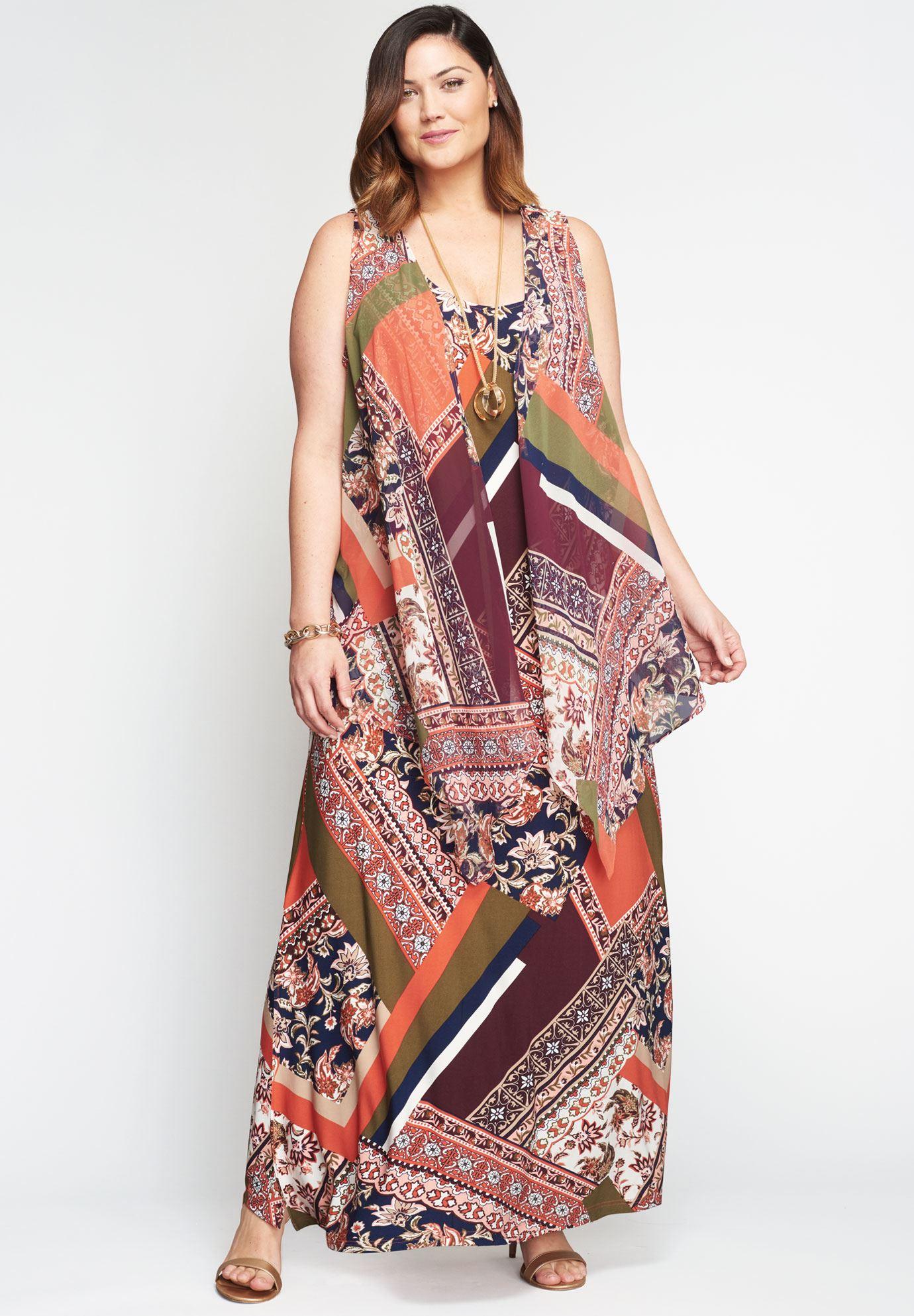 Travel Knit Maxi Dress Vest Set Plus Size Maxi Dresses Jessica