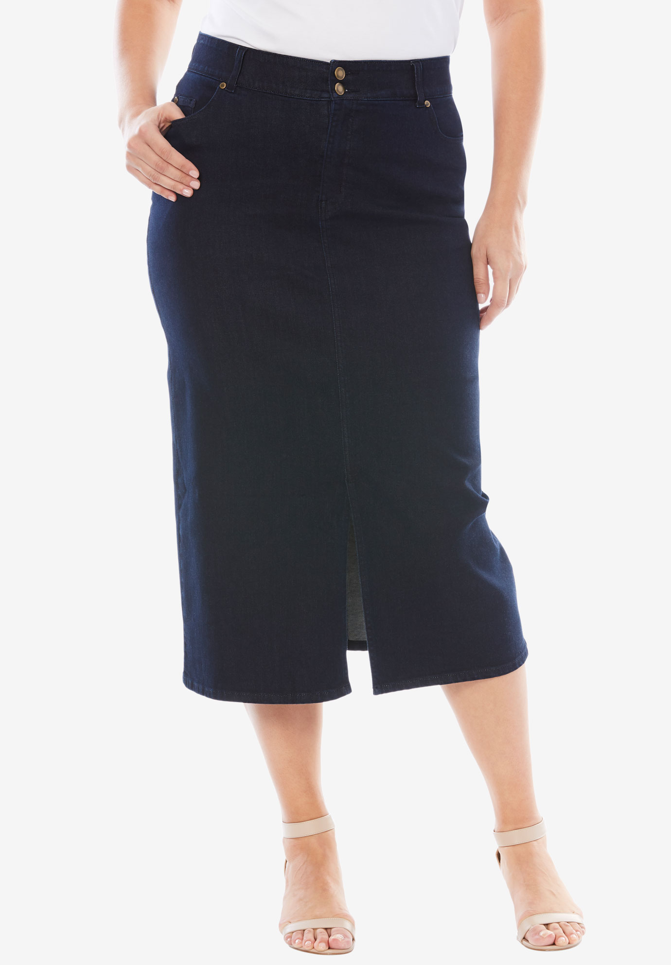Tummy-Control Denim Maxi Skirt,