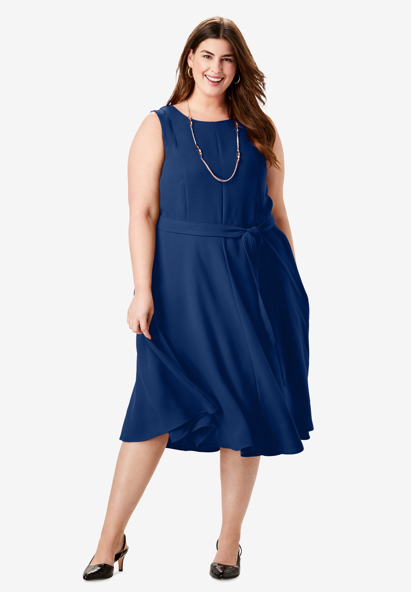 Tie-Waist Fit & Flare Dress,