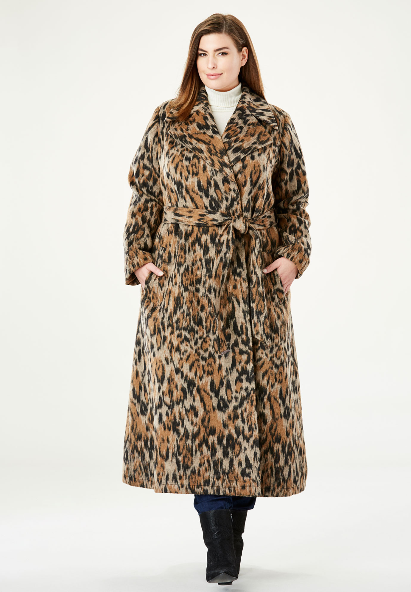 Wool-Blend Wrap Coat,