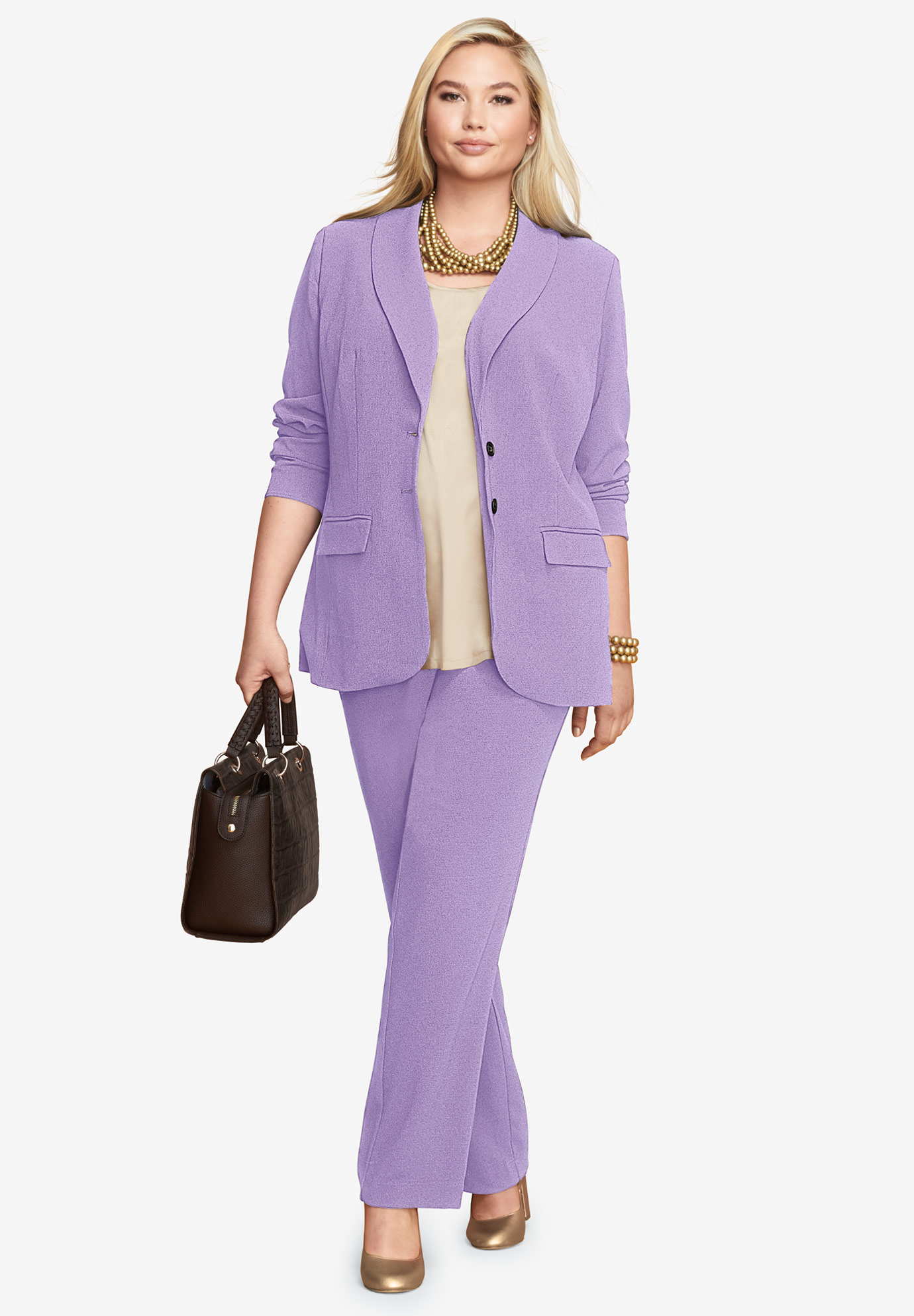 Single Breasted Pant Suit, BRIGHT LILAC