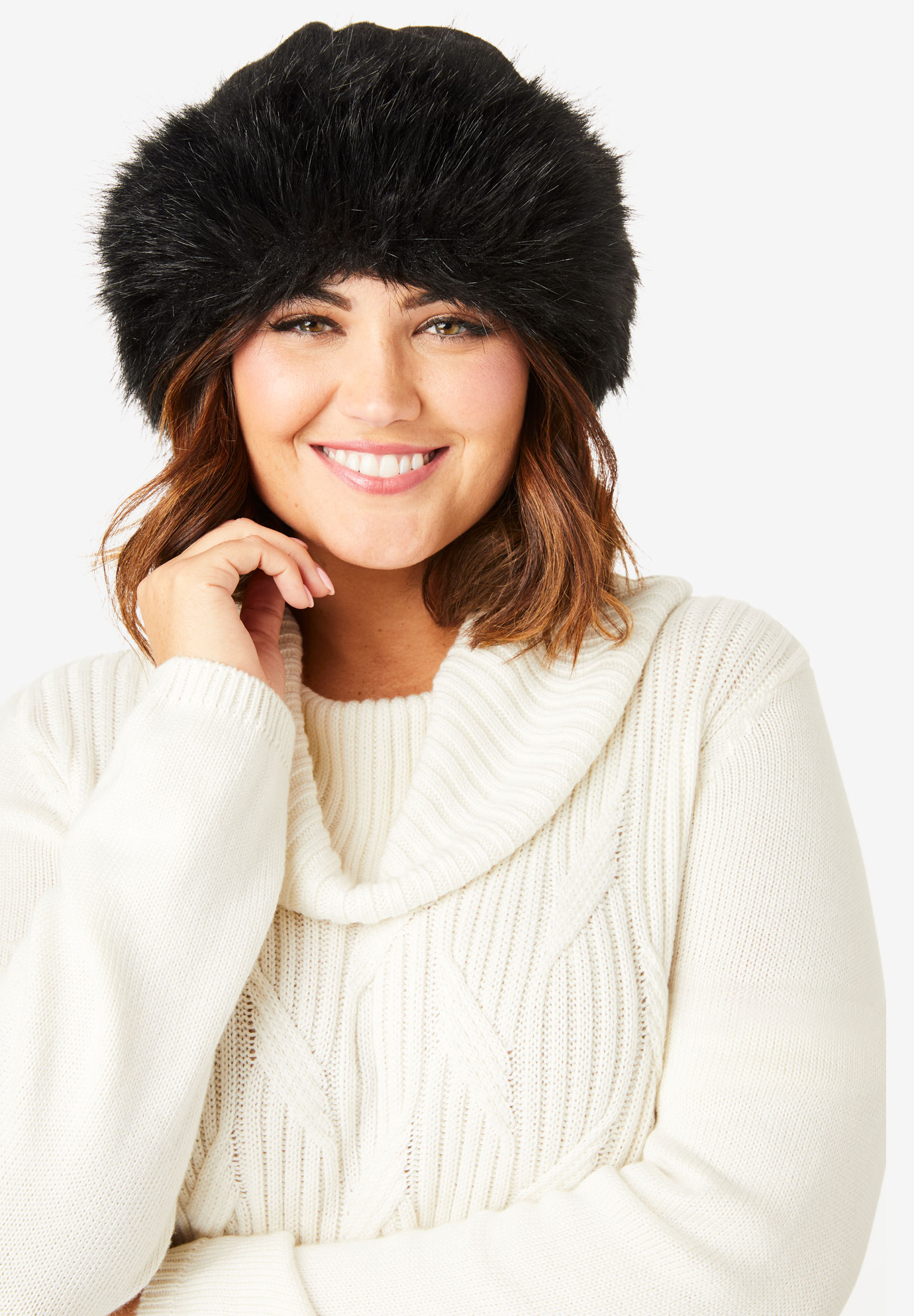 Faux Fur Hat, BLACK