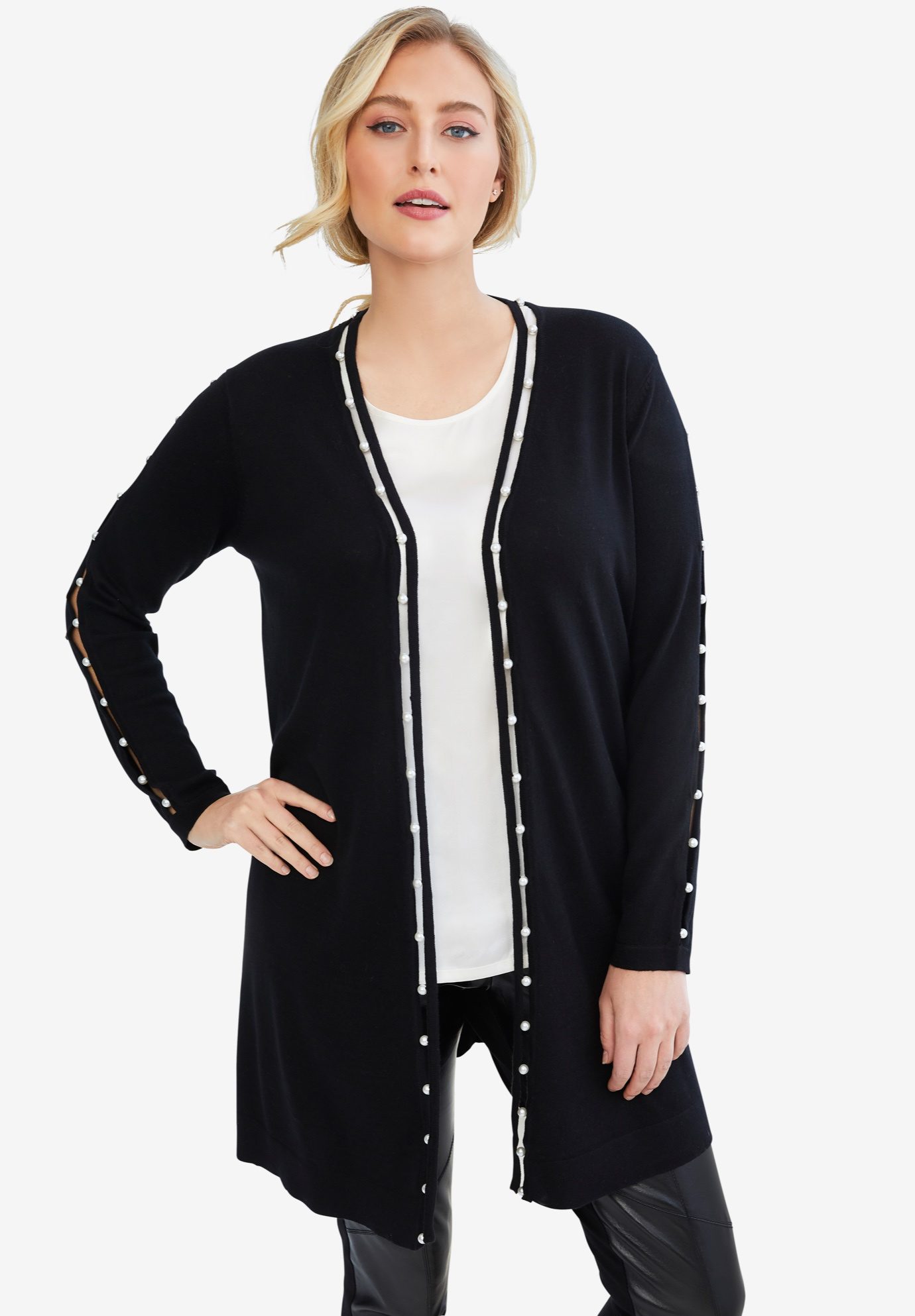 Pearl Trim Sweater Duster,