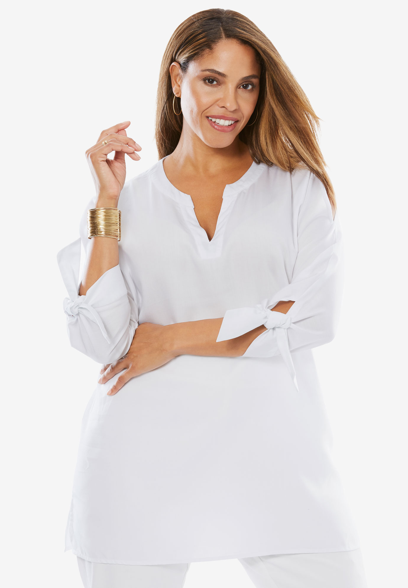 Tencel® Cold-Shoulder Shirt,